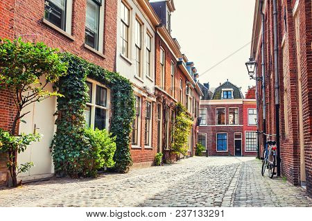 Beautiful Street With Traditional Dutch Architecture In Leiden, Netherlands