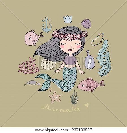 Marine Illustrations Set. Little Cute Cartoon Mermaid, Funny Fish, Starfish, Bottle With A Note, Alg