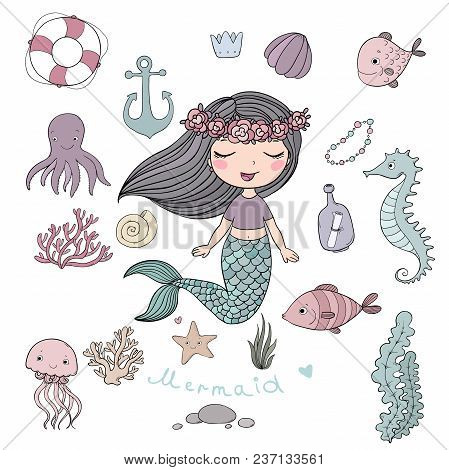 Marine Illustrations Set. Little Cute Cartoon Mermaid, Funny Fish, Starfish, Bottle With A Note, Alg
