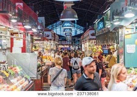 Barcelona - August 8: Inside La Boqueria, Large Public Market On La Rambla, Barcelona, Catalonia, Sp