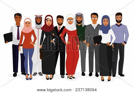 Vector Illustration Of Groupe Arab Man And Woman Business People Standing Together In Traditional Is