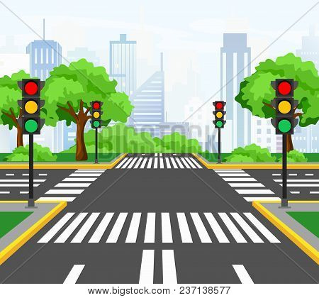 Vector Illustration Of Streets Crossing In Modern City, City Crossroad With Traffic Lights, Markings