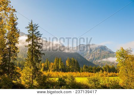 Autumn Forest And Mountains With Clouds At Sunrise. Alps Mountains, Austria
