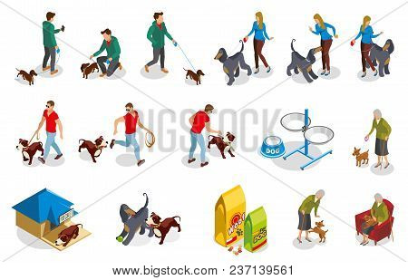 Ordinary Life Of Dog And Owner Isometric Icons With Pet Training, Walking And Feeding Isolated Vecto