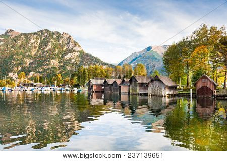 Traunsee Lake In Austrian Alps In Autumn.