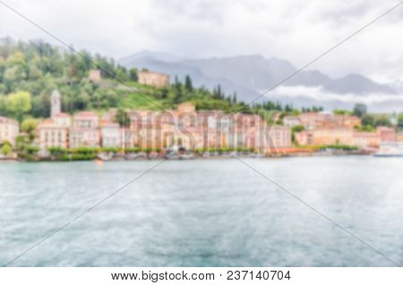 Defocused Background With Waterfront Of Bellagio Town, Lake Como, Italy