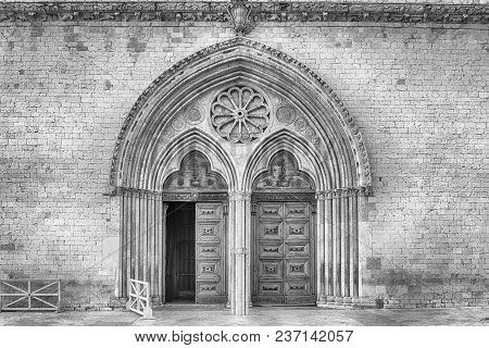 Main Portal Of The Basilica Of Saint Francis, Assisi, One Of The Most Important Places Of Christian