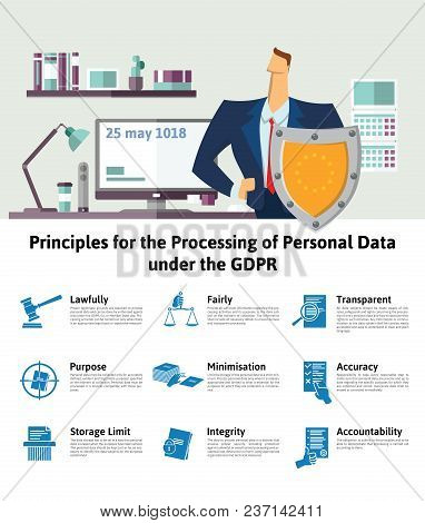 Gdpr, Dsgvo, Rgpd Concept, Illustration. Principles For The Processing Of Personal Data Under The Gd
