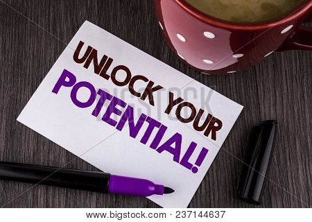 Word Writing Text Unlock Your Potential Motivational Call. Business Concept For Reveal Talent Sow Sk