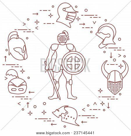 Knight With Shield, Sword And Different Helmets. Design Element For Postcard, Banner Or Print.