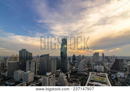 Beautiful Sunset  Of The Metropolitan Bangkok City Downtown Cityscape Urban Skyline  Thailand In  20