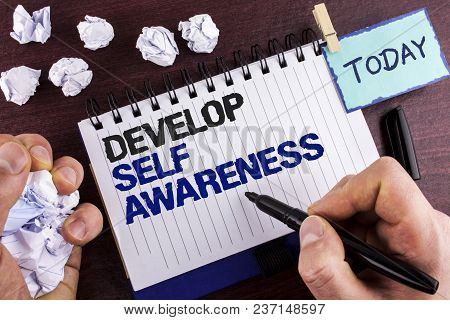 Text Sign Showing Develop Self Awareness. Conceptual Photo Improve Your Informations About Surroundi