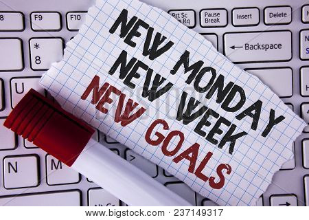 Conceptual Hand Writing Showing New Monday New Week New Goals. Business Photo Text Next Week Resolut