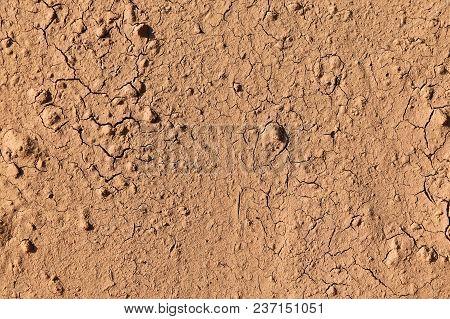 Detail Surface Broken Brown Soil For Background