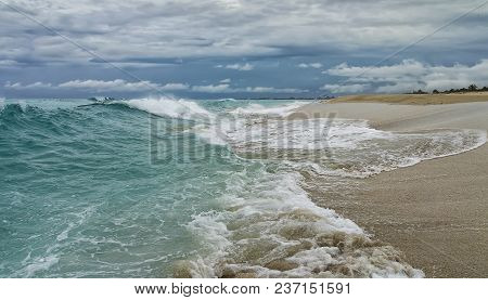 Coastline Of The Atlantic Ocean During Inclement Weather, Waves, Shore, Sandy Beach, Overlooking Bui