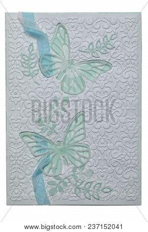 Postcard In The Style Of Scrapbooking With Butterflies On Background Of An Ornament With Decorative