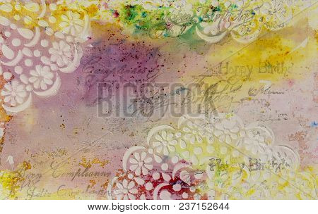 Background In The Technique Of Scrapbooking In Multi Color Tones And Pattern Of Flowers. Abstract Ba