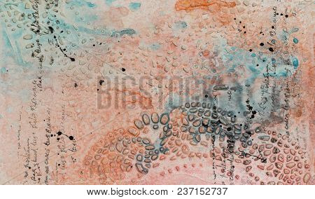 Background In The Technique Of Scrapbooking In Multi Colored Tones With Ornament. Abstract Backgroun