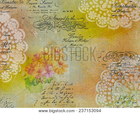 Background In The Technique Of Scrapbooking In Multi Color Tones And Floral Paintings And Text. Abst