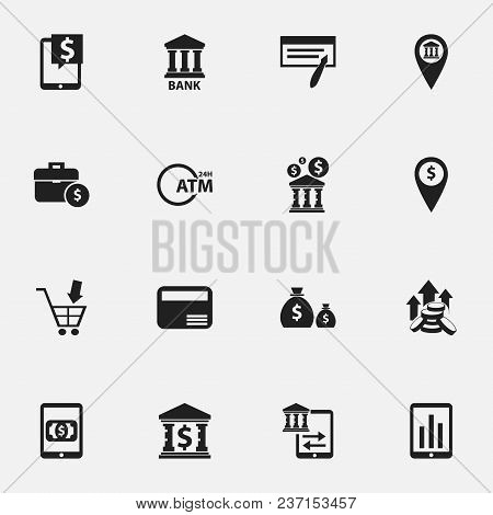 Set Of 16 Editable Investment Icons. Includes Symbols Such As Dollar, Automatic Teller Machine, Coin