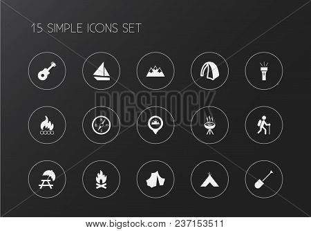 Set Of 15 Editable Trip Icons. Includes Symbols Such As Peak, Boat, Bbq And More. Can Be Used For We