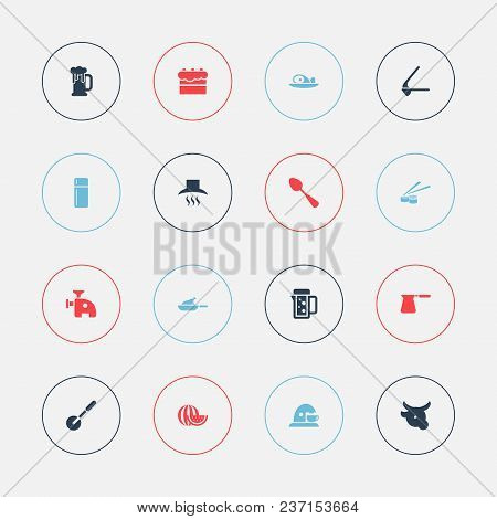 Set Of 16 Editable Cook Icons. Includes Symbols Such As Pub, Coffee Maker, Cake And More. Can Be Use