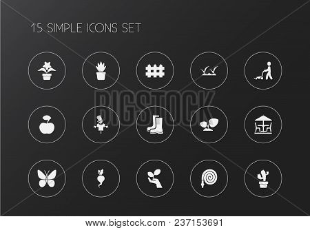 Set Of 15 Editable Gardening Icons. Includes Symbols Such As Table Under Umbrella, Rubber Boot, Mow