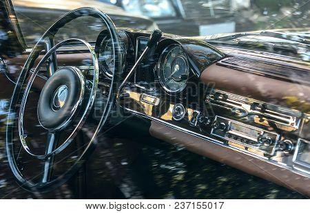 Car Retro Interior, Dashboard, Gearshift, Odometer. Photo