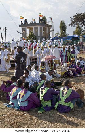 Christian Orthodox Devotees Resting At The Timket Festival.