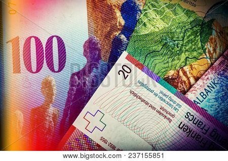 Swiss Bank Notes Are One Hundred, Ten, Twenty Francs. Cash.