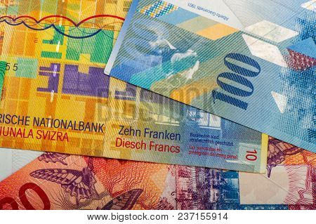 Swiss Banknote Of One Hundred Francs Is Cash. A New Paper Bill.