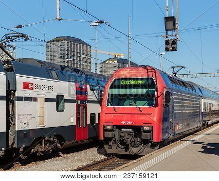 Zurich, Switzerland - 10 July, 2016: Passenger Trains Of The Swiss Federal Railways At The Zurich Ma