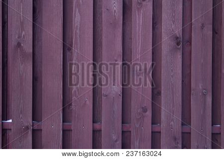 Purple Wooden Fence As Background For Design