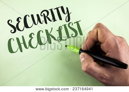 Text Sign Showing Security Checklist. Conceptual Photo List With Authorized Names To Enter Allowing