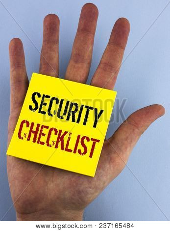 Writing Note Showing  Security Checklist. Business Photo Showcasing List With Authorized Names To En