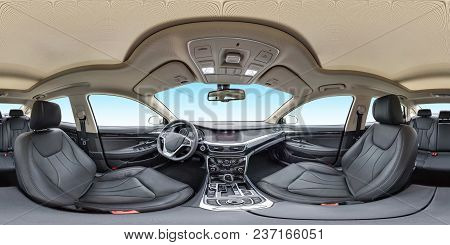 360 Angle Panorama View In Interior Of Prestige Modern Car Blue Background. Full 360 By 180 Degrees