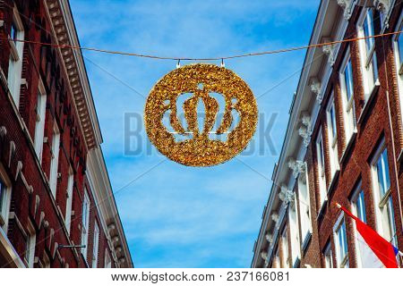 Crown Sky Holiday House Wall Flag Netherlands Building King's Day Holland Dutch Celebration April 27