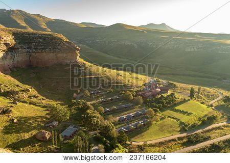Golden Gate Highlands National Park, South Africa - March 12, 2018: Aerial View Of The Hotel In The