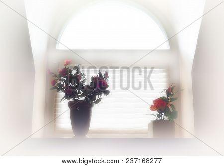 Flowers On Arc Window Object Background Hd