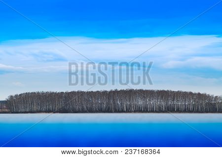 Dramatic Forest On River Horizon Background Hd