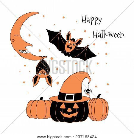 Hand Drawn Vector Illustration Of Cute Funny Bats, Pumpkins, Jack O Lantern In A Witch Hat, Spider H