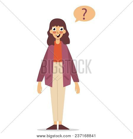 Thinking With Question Marks. Thoughtful Girl With Question Marks. Question Marks Above Her Head. Ve
