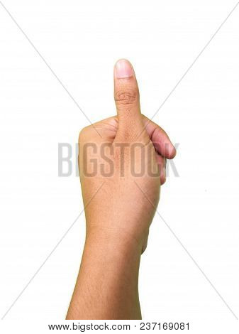 Hand Gestures, Thumb Finger Touching Or Pressing Something