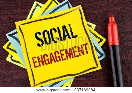 Handwriting Text Social Engagement. Concept Meaning Post Gets High Reach Likes Ads Seo Advertising M