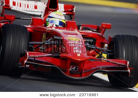 VALENCIA, SPAIN - AUGUST 23: Felipe Massa with Ferrari F1, pole position of Grand Prix of Europe in Valencia Street Circuit - on August 23, 2008 in Valencia, Spain