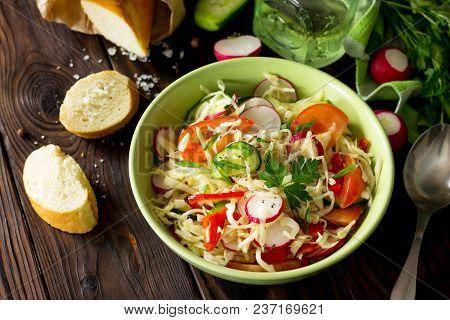 Vegan Dish. Proper Nutrition. Healthy Lifestyle. Summer Vitamin Salad With Fresh Vegetables Dressing