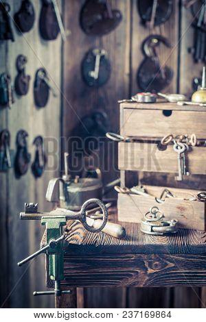 Small Locksmiths Workshop Full Of Locks And Keys