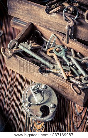 Closeup Of Old Locksmiths Workshop Full Of Keys