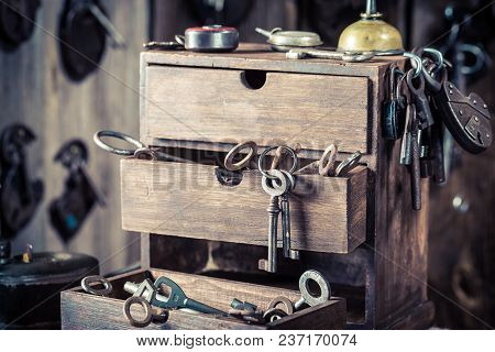 Ancient Tools And Spare Parts In Old Locksmiths Workshop