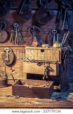 Tools, Locks To Repair In Small Locksmiths Workshop